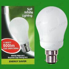 10x 11 W BIANCA FREDDA a Bassa Energia Potenza Salvare CFL Mini GLS Lampadina, Lampada BC, B22