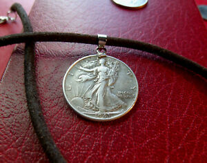 """Silver Walking Liberty Pendant on a 20"""" USA Handmade Brown Leather Necklace"""
