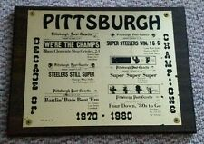 Vintage 1980 Pittsburgh Steelers Pirates Decade of Champions Plaque Post Gazette