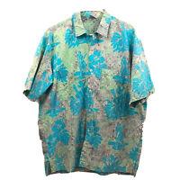 Vintage Rum Reggae Hawaiian Shirt Mens Large Blue Short Sleeve Cotton Button Euc