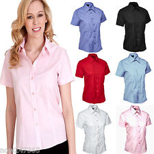Ladies Short Sleeve Shirt Blouse Size UK 8 to 24 Easy Care Tailored Fit Poplin