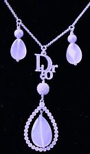 Dior Necklace with Lavender Crystals, Gray Pearls and Brilliant Clear Crystals