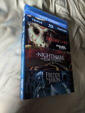 Friday the 13th/Nightmare Elm Street/Freddy vs Jason triple blu ray w/ slipcover