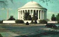 Jefferson Memorial Cars Washington DC 1940's 1950's  L. B. Prince VTG Postcard