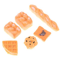 6Pcs/set 1/12 Dollhouse Miniature Food Mini Resin Bread Doll Kitchen Accessor Gw
