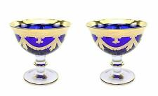 Interglass Italy 2-pc Luxury Blue Vintage Glass Compote Serving Bowl, 24K Gold