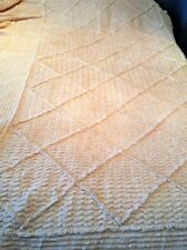 """VINTAGE CHENILLE / CANDLEWICK MED PILE  SINGLE BEDSPREAD 38"""" X 83"""" PANEL+RUFFLES"""