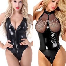 Sexy Body Latex Round Bodysuit Black Short Faux Leather Lingerie Nightwear