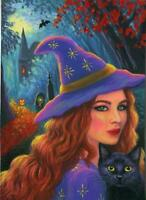 ACEO HALLOWEEN REDHEAD WITH CEMETERY CASTLE BATS BLACK CAT AUTUMN MIST PAINTING