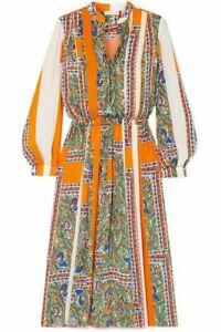 Tory Burch Printed Long Sleeve Dress Something Wild Dress  6 NWT S M