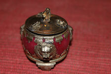 Asian Chinese Lidded Pill Box W/Frogs Monkey Lion Faces-Miniature-Silver Metal