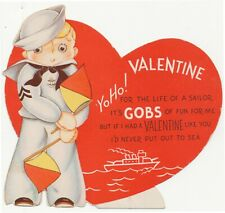 Yo Ho! Life Of A Sailor It's Gobs Of Fun Ship Flag Valentine 1930s-1940s Vintage