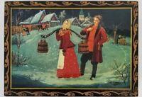 Vintage Boyarinoff RUSSIAN LACQUER TEA BOX Trinkets