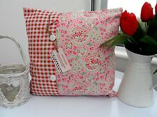 SHABBY CHIC CUSHION COVER CATH KIDSTON ROSALI COTTON FABRIC PINK country retro n