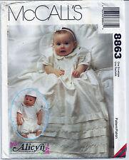 McCall's Pattern 8863 Baby Christening Baptismal Gown Romper SZ NB S M L Uncut