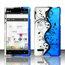 For LG Optimus L9 Rubberized HARD Protector Case Phone Cover Blue Vines