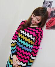Japan ZigZag Colorblock Boyfriend Tunic Knit Sweater! Pink