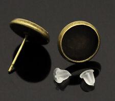 15 paires supports de boucle d'oreille bronze & embouts 14x12mm