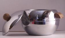 West Bend Penguin Ice Bucket Hot & Cold Server MCM Round Chrome Stainless Steel