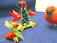 CHRISTMAS ORNAMENT LOT OF 3,1991 NATIONAL RENNOC CART,1 GLASS,1 STUFFED BIRDS
