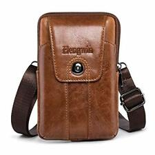 Pofomede Cell Phone Holster Vertical Genuine Leather Belt Case Pouch Loop Strap