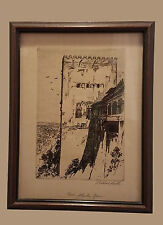 Original etching Signed by Samuel Chatwood Barton - Tower Alhambra, Spain