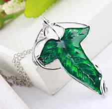Leaf Elven Pin Brooch Pendant Chain Necklace Hot Sale Lord of The Rings Green
