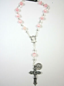 Rose Pink Glass Bead Auto Car Mirror Decade Rosary w St Christopher Medal Italy