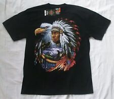 Native American Chief and Eagle XL black t-shirt