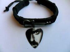 Ladies / Girls Guitar Charm Leather Adjustable Bracelet & George Michael  Pick