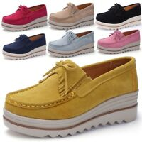 New Women Suede Slip on Platform Hidden Wedge Heel Shoes Casual Sneakers Loafers