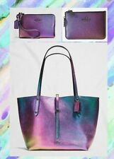 NWT COACH Hologram Tote Bag Wristlet & Coin Pouch Iridescent Leather GIFT RARE!!