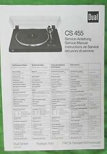 Dual Turntable Cs 455 Service Manual A Photo Copy- For The Dual Model Cs 455