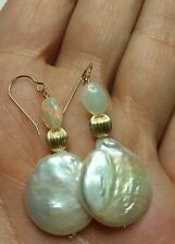 Pair White 16mm coin pearl Ethiopian 5mm fire Opal earrings solid 14k gold