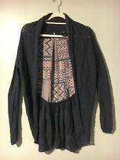 Anthropologie Knitted & Knotted Sweater Women Size M Blue Aztec Cardigan Cotton