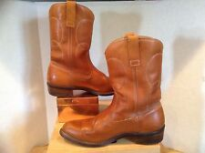 USA Made Cowboy Boots  ROPER Style  COGNAC LEATHER walking heel EUC  Size 8.5