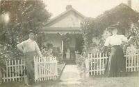 C-1910 Victorian Couple Entrance pretty Cottage garden RPPC Photo Postcard 5368