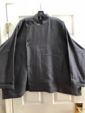 Eskandar Size 2 1x 2x Grey Linen Oversized Top Jacket w/ Asymmetrical Closure