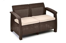 Patio Love Seat Outdoor Furniture Chair Rattan Garden Wicker Sofa Bench Lounge