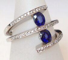 18ct Sapphire & Diamond ring, White Gold,Multirow uk size N, new, stunning ring!