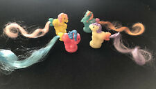 4 Vintage My Little Pony Petite Ponies Nursery Ponytails - Glow In The Dark
