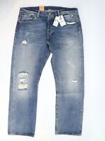 NWT Levis 501 Mens Jeans 38x32 Distressed Warp Stretch Button Fly Original Fit