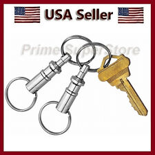 2 PCS PULL APART METAL KEY CHAIN QUICK-RELEASE CLIP O RING HOLDER SILVER COLOR