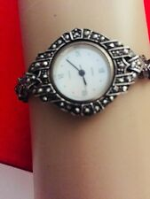 VINTAGE BOMA WATCH LADIES STERLING SILVER AND MARCASITE STONES