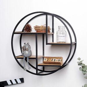 Metal Round Hanging Floating Shelf Home Office Storage Display Rack Decoration