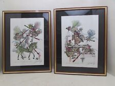 2 Large Portuguese Framed Signed Equestrian Show Jumping Prints