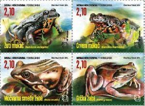 Frogs block of 4 mnh stamps 2016 Bosnia & Herzegovina (Croat) #342