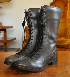 """Timberland Boot Co Lucille 10"""" tall boots black gray leather 6 NWOT lace zip 36"""