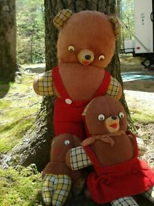 Vintage....Papa, Mama, & Baby....Rubber Nosed Teddy Bears.....Stuffed...Toys