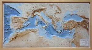 Mar Mediterraneo Carta in Rilievo [124x64 Cm] [Con Cornice in Legno] Global Map
